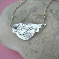 REDUCED Fine silver bird necklace