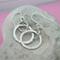 Hammered ring earrings in sterling silver