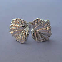 Bramble leaf stud earrings in fine silver