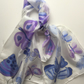 Blue Butterflies  hand painted silk scarf