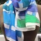 Blue and Turquoise abstract hand painted silk scarf.