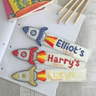 Personalised Handmade Children's Rocket ship Bookmark