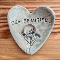 Bee Beautiful Ceramic Heart Trinket Dish