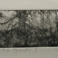 Moody drypoint etching 'Herne the Hunter I'