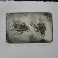 Moody drypoint etching 'Dead Bees'