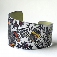 Hand printed bee and butterfly cuff