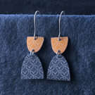 Grey and peach dangle earrings