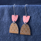 Mustard and pink dangle earrings