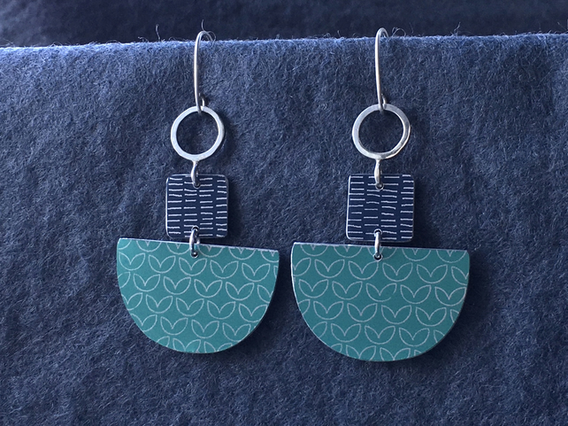 Statement dangle earrings grey and mint