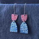 Navy and red dangle earrings