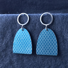 Large blue and silver stud dangle earrings