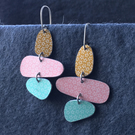 Pebble dangle earrings pink, mustard & mint