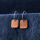 Orange square drop earrings