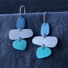 Pebble dangle earrings grey, mint & blue