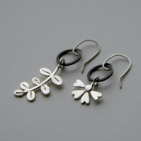 Mismatched flower and leaf drop earrings