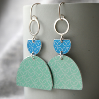 Statement dangle earrings blue and mint