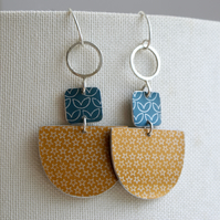 Statement dangle earrings navy and mustard