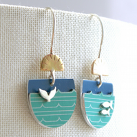 Whale and fish landscape drop earrings