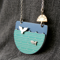 Whale and fish landscape necklace