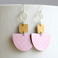 Statement dangle earrings pink and mustard