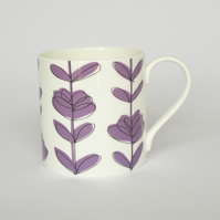 Contemporary Purple Floral English Bone China Mug by Amy Helena Clarke