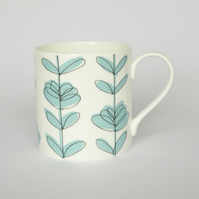 Contemporary Turquoise Floral Heart English Bone China Mug by Amy Helena Clarke