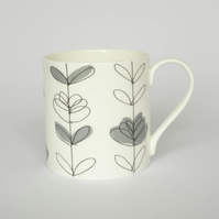 Contemporary Grey Floral Heart English Bone China Mug by Amy Helena Clarke