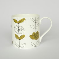 Contemporary Olive Floral Heart English Bone China Mug by Amy Helena Clarke