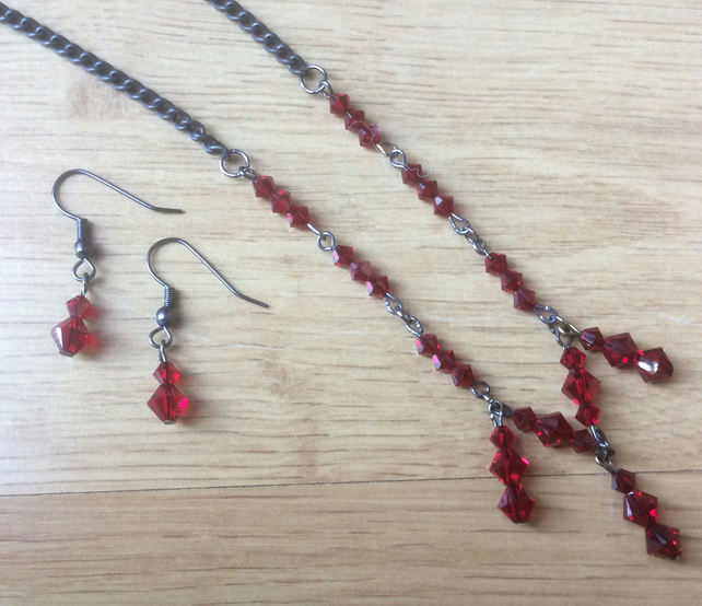 Red Swarovski Bead Necklace and Earring Set