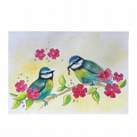 "Blue Tits. Hand drawn and painted greetings card 6"" x 4""by Pamela West"