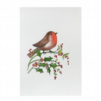 "Robin and Holly. A Hand drawn and painted greetings card 6"" x 4""by Pamela West"