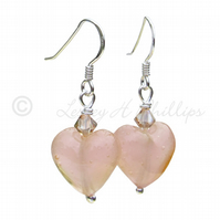 FREE DELIVERY UK Silver Murano Peach Pink Heart Earrings - Gift Wrapped MGE8pf