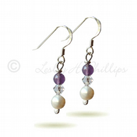 FREE DELIVERY Silver Amethyst Pearl Swarovski Drop Earrings Gift Wrapped - BCE16
