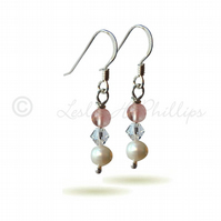 FREE POST UK Silver Rose Quartz Pearl Swarovski Drop Earrings Gift Wrapped BCE19