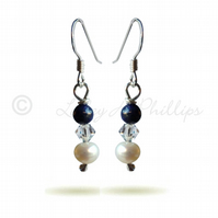 FREE DELIVERY UK Silver Lapis Pearl Swarovski Drop Earrings Gift Wrapped BCE20
