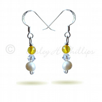 FREE DELIVERY UK Silver Yellow, Pearl,Swarovski Drop Earrings Gift Wrapped BCE18