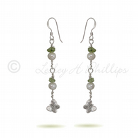FREE DELIVERY UK Long Silver Pearl Peridot Butterfly Earrings Gift Wrapped BCE7