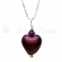 UK FREE DELIVERY Murano Glass Heart Pendant Necklace Amethyst Gift Wrapped MGPA1