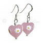 FREE DELIVERY UK Silver Murano Pink Daisy Heart Earrings - Gift Wrapped MGE9d