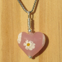 FREE DELIVERY UK Murano Glass Pink Daisy Heart Necklace - Gift Wrapped MGPA9d