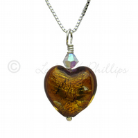 FREE POST Yellow Amber Silver Murano Glass Heart Necklace Gift Wrapped - MGPA2a