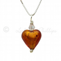 UK FREE DELIVERY Murano Glass Heart Pendant Necklace Amber Gift Wrapped MGPA2