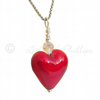 Free Delivery UK  Red Murano Glass Heart Necklace Gift Wrapped Ideas MGPA4
