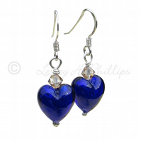 FREE DELIVERY UK Silver Murano Cobalt Blue Heart Earrings - Gift Wrapped MGE10A