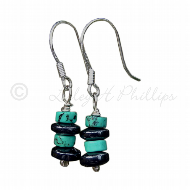 FREE DELIVERY UK Silver Turquoise, Haematite Gemstone Earrings Gift Wrapped GCE1