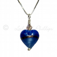 FREE DELIVERY UK Murano Glass Blue Gold Heart Necklace Gift Wrapped MGPA10PB