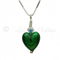 FREE DELIVERY UK Handmade Emerald Green Murano Glass Necklace Gift Wrapped MGPA3