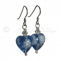FREE POST UK Silver Murano Glass Flower Blue Heart Earrings Gift Wrapped MGE10m