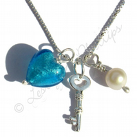 FREEPOST UK Silver, Blue Murano Heart 18th 21st Key, Pearl Necklace Gift MGN10aK