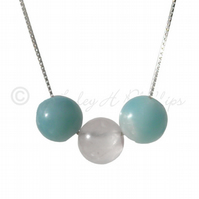FREE POST UK Silver, Amazonite Rose Quartz Necklace Gift Wrapped Jewellery BCN3